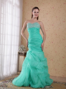 Turquoise Column Sweetheart Brush Train Organza Beading and Ruch Prom / Celebrity Dress