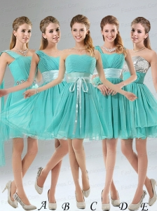 2015 A Line Ruching Lace Up Prom Dress in Aqua Blue