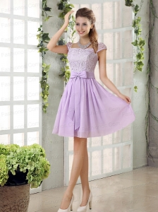 2015 Chiffon Prom Dress with Ruching Bowknot