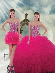 Detachable Beading and Ruffles Dresses For Quince in Hot Pink