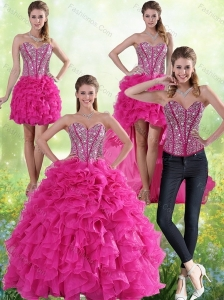 Hot Pink Sweetheart Quinceanera Gown with Beading and Ruffles
