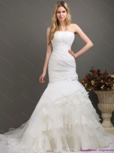 2015 New Strapless Wedding Dress with Ruching and Ruffles