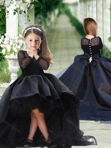 Romantic See Through Long Sleeves Flower Girl Pageant Dress in Navy Blue