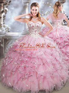 Top Selling Floor Length Ball Gowns Sleeveless Baby Pink Quinceanera Dress Lace Up
