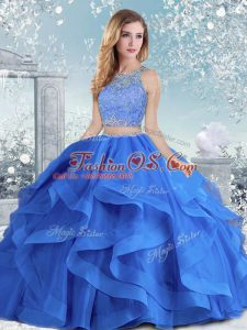 Long Sleeves Clasp Handle Floor Length Beading and Ruffles Quinceanera Dresses