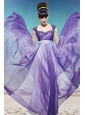 Purple Empire Straps Floor-length Chiffon Lace and Beading Prom / Party Dress