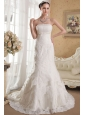 Luxurious Mermaid Strapless Chapel Train Lace Beading Wedding Dress