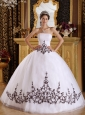 Discount White Quinceanera Dress Strapless Tulle Embroidery Ball Gown