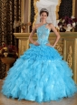 Wonderful Aqua Blue Quinceanera Dress One Shoulder Satin and Organza Beading Ball Gown