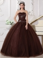 Modest Chocolate Quinceanera Dress Sweetheart Tulle Rhinestones Ball Gown