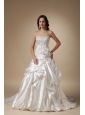 Luxurious A-line Strapless Chapel Train Taffeta Beading and Pick-ups Wedding Dress