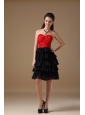 Black and Red A-line Sweetheart Knee-length Chiffon and Taffeta Beading Prom Dress