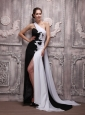 White and Black Empire One Shoulder Watteau Train Chiffon Handle Flowers Prom Dress