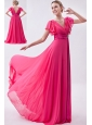 Hot Pink Empire V-neck Prom Dress Chiffon Ruch Brush Train