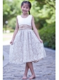 White and Champagne A-line Scoop Flower Girl Dress Tea-length Taffeta and Lace