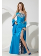 Teal and Leopard Print Split Prom / Homecoming Dress Sweetheart