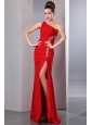 Beautiful Red One Shoulder Chiffon Prom Dress with silver beading on top side