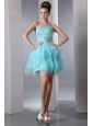 Aqua Blue Column One Shoulder Short Prom Dress Asymmetrical Organza Beading