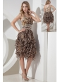 Sexy Empire One Shoulder Beading Short Prom Dress Tea-length Leopard