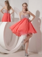Lovely Rust Red Empire Sweetheart Homecoming Dress Organza and Chiffon Beading Mini-length