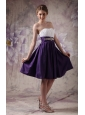 Cheap White and Purple Short Prom Dress Sweetheart Knee-length