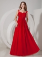 Inexpensive Red Empire Straps Prom Dress Chiffon Ruch Floor-length