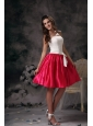 Modest White and Hot Pink Junior Prom Dress Mini-length Taffeta