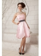 Popular Baby Pink A-line Sweetheart Cocktail Dress Taffeta Beading Knee-length