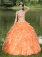Orange Quinceanera Dress Clearance With Sweetheart Beaded Ruffles Layered Decorate Organza