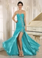 Aqua Blue High Slit Organza Ruch and Ruffled Layers Decorate Dama Dresses for Quinceanera In Arizona Addison