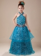 Cute Zebra Halter A-Line Blue Flower Girl Dress With Beading