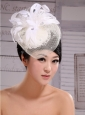 White Feather Headpieces Net Fashion Pearl Tire Fascinators