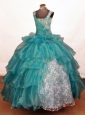 Luxurious Ball Gown Off The Shoulder Neckline Floor-Length Blue Beading Little Girl Pageant Dresses