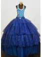 Brand New Beaded Halter Top Blue Organza Beading Little Girl Pageant Dresses