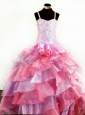 Colorful Organza With Appliques and Beading For Little Girl Pageant Dresses