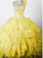 Elegant Beading Ruffles Ball Gown One Shouldder Floor-length Little Girl Pageant Dress