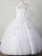 Embroidery With Beading Decorate Bodice Romantic Ball Gown Little Girl Pageant Dress Strapless Floor-length