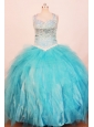 Exquisite Little Girl Pageant Dresses Ball Gown Strap Floor-Length Baby Blue