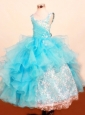 Fashionable Baby Blue Little Girl Pageant Dresses Ruffled Layered Scoop Floor-Length Lace