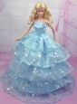 Gorgeous Blue Gown With Sequins And Embroidery Made To Fit The Quinceanera Doll