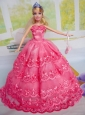 Gorgeous Hot Pink Party Clothes Organza For Quinceanera Doll