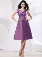 V-neck Purple Bridesmaid Dress With Knee-length and Bow
