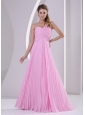 Long Pink One Shoulder Pleat Dama Dress For Quinceanera