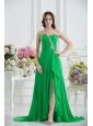 Sweetheart High Slit Beading Spring Green Prom Dress with Ruching