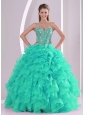 Fall Ball Gown Sweetheart Ruffles and Beaded Decorate Turquoise Pretty Quinceanera Dresses