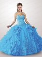 Exclusive Blue Dress For Quinceanera with Appliques and Ruffles