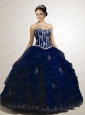 Cheap Appliques Sweetheart Quinceanera Dress in Navy Blue with Beading