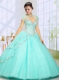 2015 Fashionable Beading Sweep Train Quinceanera Dress in Mint