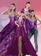 Embroidery Strapless Quinceanera Dress in Purple for 2015