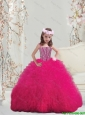 2016 Lovely Spaghetti Hot Pink Little Girl Pageant Dresses with Beading and Ruffles